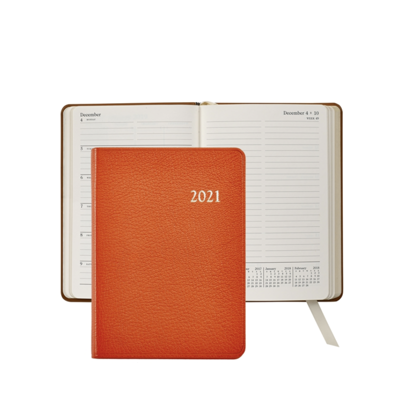 Graphic Image Graphic Image 2021 Orange Goatskin 5X7 Weekly Journal