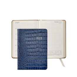 Graphic Image Graphic Image 2021 Sapphire Crocodile Print Leather 5X7 Weekly Journal