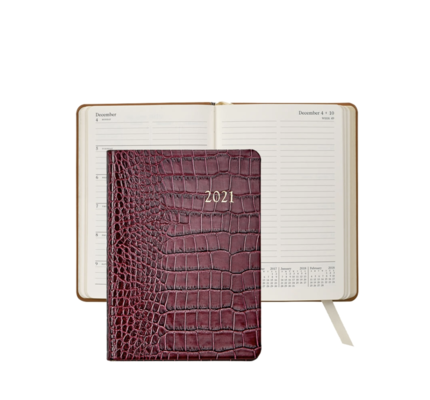 Graphic Image Graphic Image 2021 Ruby Crocodile Print Leather 5X7 Weekly Journal