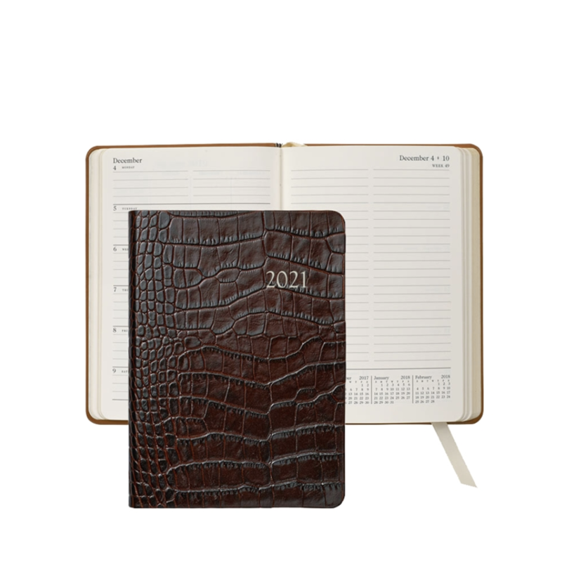 Graphic Image Graphic Image 2021 Brown Crocodile Print Leather 5X7 Weekly Journal