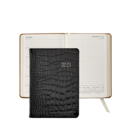 Graphic Image Graphic Image 2021 Black Crocodile Print Leather 5X7 Weekly Journal