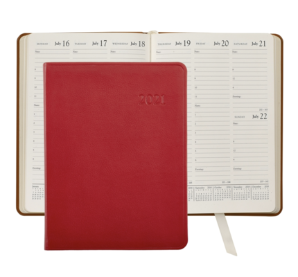 Graphic Image Graphic Image 2021 Red Traditional Leather Desk Diary