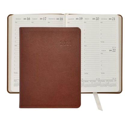 Graphic Image Graphic Image 2021 Maple Traditional Leather Desk Diary