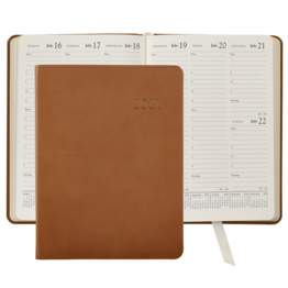Graphic Image Graphic Image 2021 British Tan Traditional Leather Desk Diary