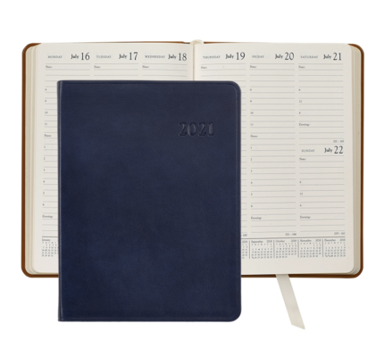 Graphic Image Graphic Image 2021 Blue Traditional Leather Desk Diary