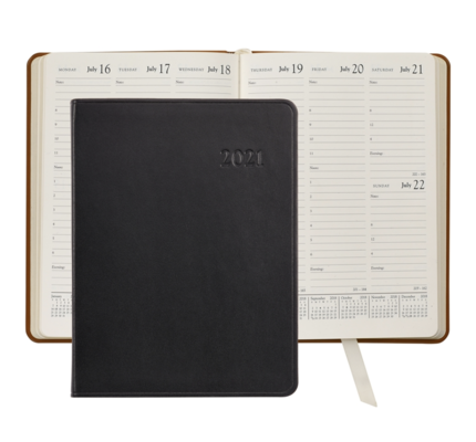 Graphic Image Graphic Image 2021 Black Traditional Leather Desk Diary