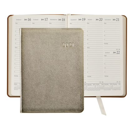 Graphic Image Graphic Image 2021 White Gold Metallic Goatskin Leather Desk Diary