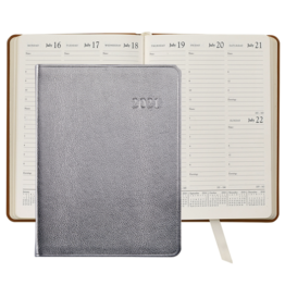 Graphic Image Graphic Image 2021 Silver Metallic Goatskin Leather Desk Diary