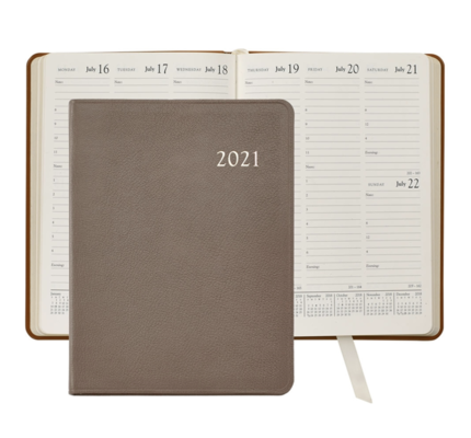 Graphic Image Graphic Image 2021 Taupe Goatskin Leather Desk Diary