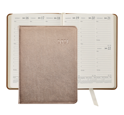 Graphic Image Graphic Image 2021 Rose Gold Metallic Goatskin Leather Desk Diary