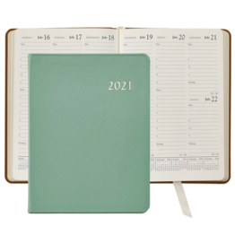 Graphic Image Graphic Image 2021 Robin's Egg Blue Goatskin Leather Desk Diary