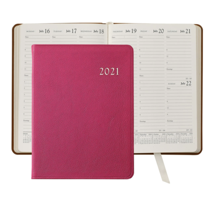 Graphic Image Graphic Image 2021 Pink Goatskin Leather Desk Diary