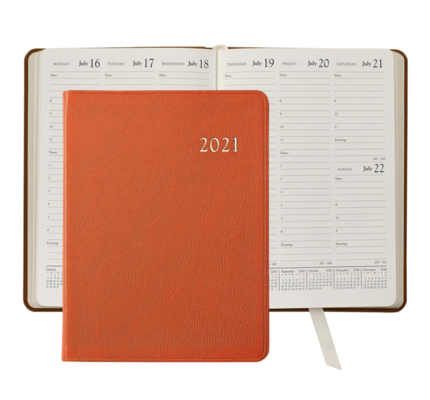 Graphic Image Graphic Image 2021 Orange Goatskin Leather Desk Diary