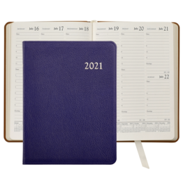 Graphic Image Graphic Image 2021 Indigo Goatskin Leather Desk Diary