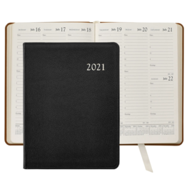 Graphic Image Graphic Image 2021 Black Goatskin Leather Desk Diary