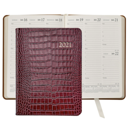 Graphic Image Graphic Image 2021 Ruby Crocodile Print Leather Desk Diary
