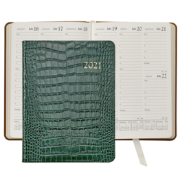 Graphic Image Graphic Image 2021 Emerald Crocodile Print Leather Desk Diary