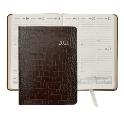 Graphic Image Graphic Image 2021 Brown Crocodile Print Leather Desk Diary