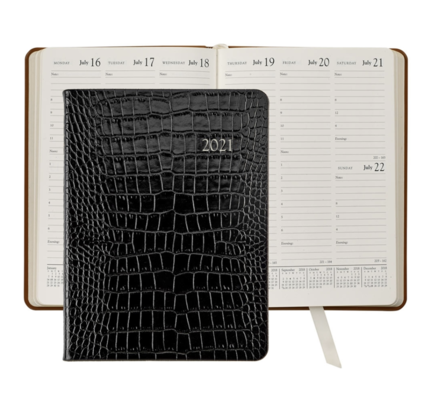 Graphic Image Graphic Image 2021 Black Crocodile Print Leather Desk Diary