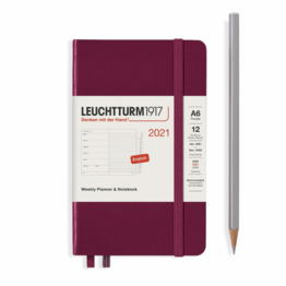 Leuchtturm1917 Leuchtturm1917 2021 Port Red Weekly Planner & Notebook Pocket (A6) with Extra Booklet
