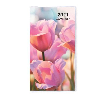 Payne 2021 MB-12 Monthly Pocket Planner Floral Horizontal (3.5x6.5) - Pink Tulips