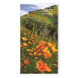 Payne 2021 MB-12 Monthly Pocket Planner Floral Horizontal (3.5x6.5) - Orange Poppies