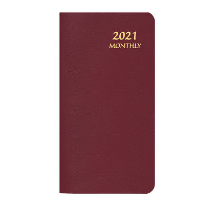 Payne 2021 MBU-11 Skivertex Pocket Monthly Planner Upright (3.5x6.5) Burgundy