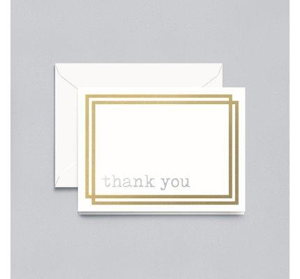 Crane Crane Pearl White Foil Thank You Note (Discontinued)