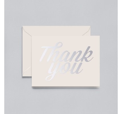 Crane Crane Pearl White Silver Script Thank You Note