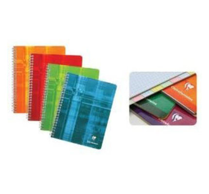 Clairefontaine Clairefontaine #8809 Multi-Subject Graph Wirebound 8 Tabs and 48 Sheets Notebook 4.25 x 6.75 (Assorted)