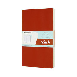 Moleskine Moleskine Volant Journals Large Coral Orange/Aquamarine Blue Plain (Set of 2)