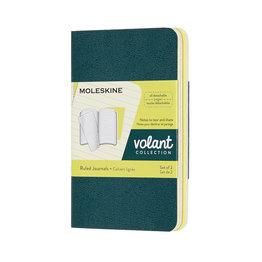 Moleskine Moleskine Volant Journals X-Small Pine Green/Lemon Yellow Ruled