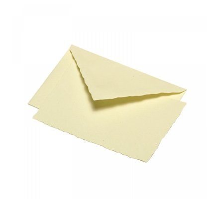 G. Lalo Deckle Edge Card & Envelope Ivory
