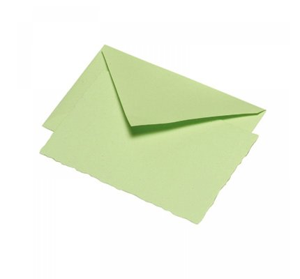 G. Lalo Deckle Edge Card & Envelope Pistachio