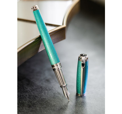 S. T. Dupont S. T. Dupont Line D Large Diamond Guilloche Aquamarine Fountain Pen
