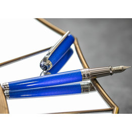 S. T. Dupont S. T. Dupont Line D Large Diamond Guilloche Sapphire Fountain Pen