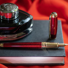 S. T. Dupont S.T. Dupont Line D Large Diamond Guilloche Ruby Fountain Pen