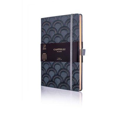 Castelli Castelli A5 Notebook Copper And Gold Art Deco Copper Ruled