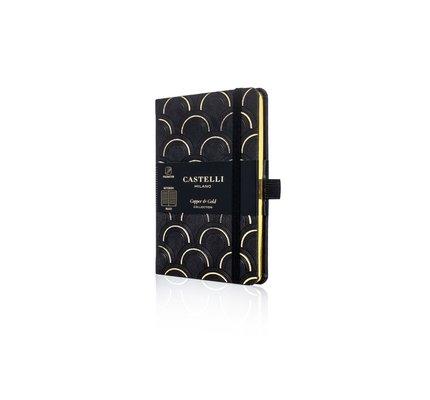 Castelli Castelli A5 Notebook Copper And Gold Art Deco Gold Ruled