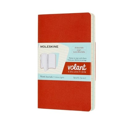 Moleskine Moleskine Volant Journals Pocket Coral Orange/Aquamarine Blue Ruled (Set of 2)