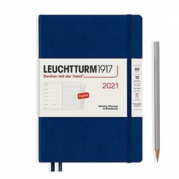 Leuchtturm1917 Leuchtturm1917 2021 Navy Weekly Planner & Notebook Medium (A5) with Extra Booklet