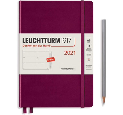 Leuchtturm1917 Leuchtturm1917 2021 Port Red Weekly Planner & Notebook Medium (A5) with Extra Booklet