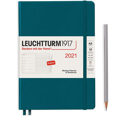Leuchtturm1917 Leuchtturm1917 2021 Pacific Green Weekly Planner & Notebook Medium (A5) with Extra Booklet