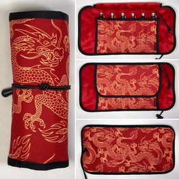 Rickshaw Deluxe 6-Pen Hemingway Dragon Red and Gold Pen Roll
