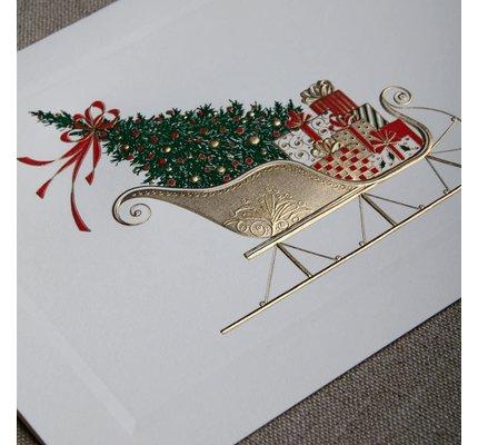 Crane Crane Engraved Santa's Sleigh Holiday Greeting Cards