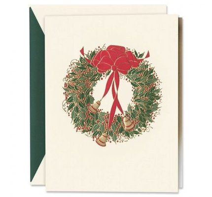 Crane Crane Engraved Holly Wreath with Bells Holiday Greeting Cards