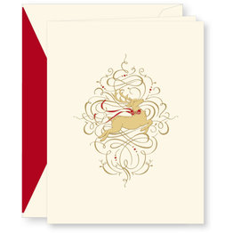 Crane Crane Engraved Leaping Reindeer Holiday Greeting Cards