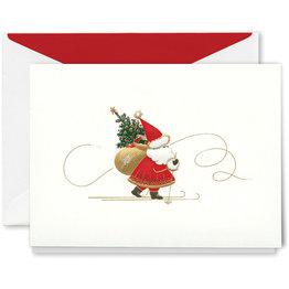 Crane Crane Engraved Skiing Santa Holiday Greeting Cards
