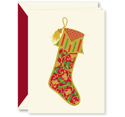 Crane Crane Foil Paisley Stocking Holiday Greeting Cards