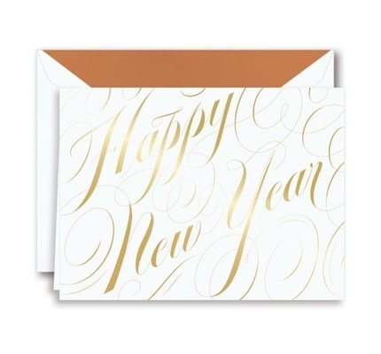 Crane Crane Foil Happy New Year Script Holiday Greeting Cards
